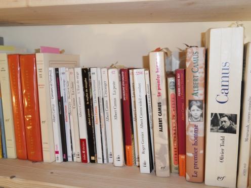 Une étagère consacrée à Albert Camus